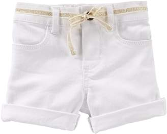 Osh Kosh Oshkosh Bgosh Girls 4-6x Roll-Cuff Twill Shorts with Glitter Belt
