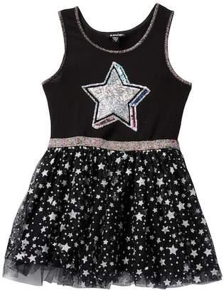 Zunie Sleeveless Knit Foil Star Printed Dress (Little Girls)