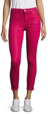 J Brand Alana Coated High-Rise Cropped Skinny Jeans