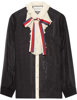 Gucci - Ruffle-trimmed Silk-georgette Shirt - Black $1,400 thestylecure.com