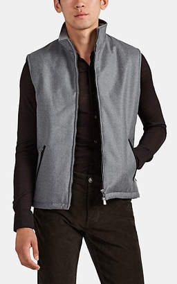 Isaia Men's Suede-Trimmed Padded Wool Vest - Gray