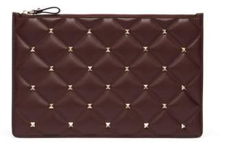 Valentino Candystud Quilted Leather Pouch - Womens - Burgundy