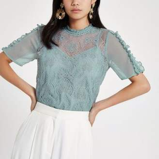 River Island Light blue lace short sleeve top