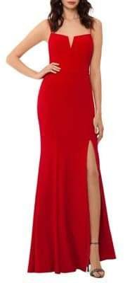 Xscape Evenings V-Cut Leg Slit Evening Gown