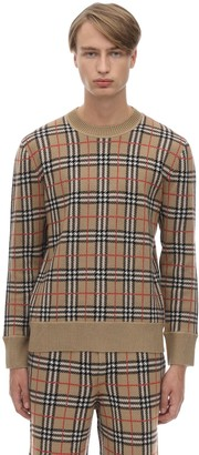 Burberry Check Merino Wool Knit Sweater