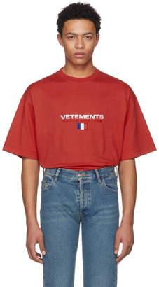 Vetements Red Haute Couture Logo T-Shirt