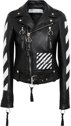 Off-White - Paneled Leather Biker Jacket - Black $2,475 thestylecure.com