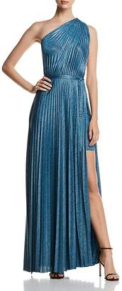 Elie Tahari Mistry Pleated One-Shoulder Maxi Dress