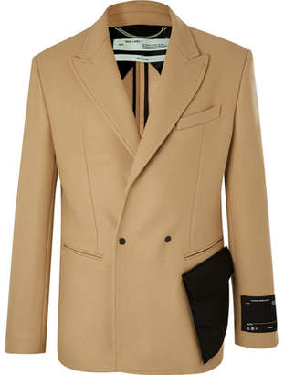 Off-White Camel Slim-Fit Double-Breasted Virgin Wool-Blend Blazer