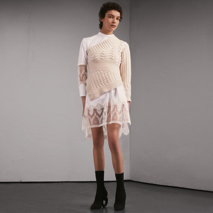 Burberry Lace Cutwork Cotton Shirt Dress