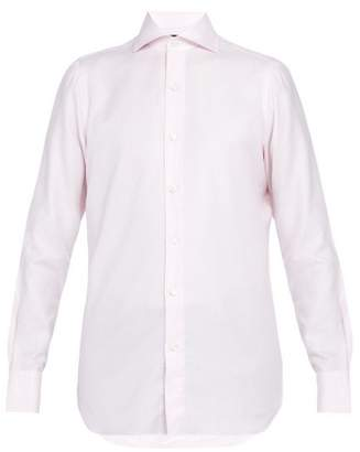 Finamore 1925 - Spread Collar Checked Cotton Shirt - Mens - Pink