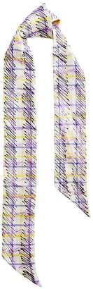 Burberry scribble check silk slim scarf