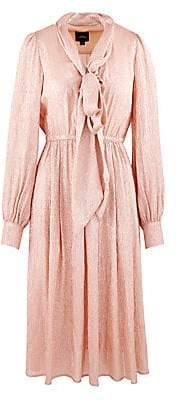 Marc Jacobs Women's Silk Metallic Draped Midi Dress - Size 0