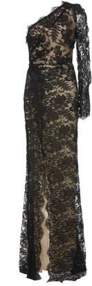 Monique Lhuillier One-Shoulder Front Slit Floral Lace Gown