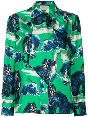 Gucci angry cat print blouse