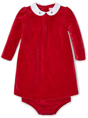 Ralph Lauren Velour Long-Sleeve Dress w/ Matching Bloomers, Size 6-24 Months