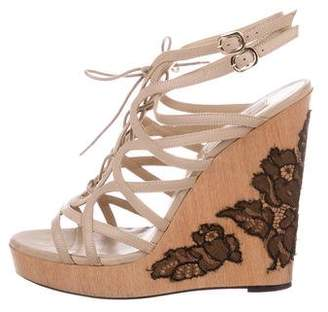 Valentino Lace-Trimmed Wedge Sandals