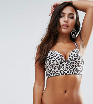 Wolfwhistle Wolf & Whistle Animal Print Bustier Bikini Top A-FF Cup