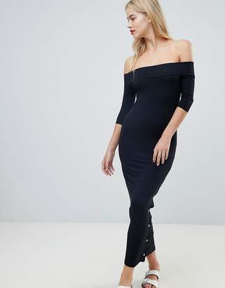 Asos Off Shoulder Maxi Dress With Popper Detail