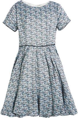 Helena Short-Sleeve Printed Dress, Size 7-14