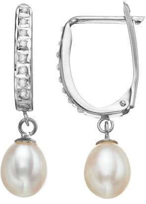 Diamond Fascination Freshwater Cultured Pearl 10k Gold Drop Earrings