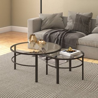 Hudson&Canal Gaia Modern Industrial Round Metal/Glass Nesting Coffee Tables - 2 pc Set