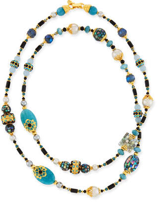 Jose & Maria Barrera Long Jade & Glass-Pearl Necklace w/ Cloisonne Beads, 48""