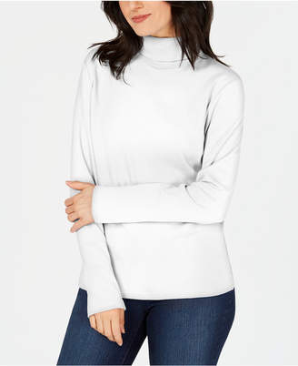 Karen Scott Petite Long-Sleeve Cotton Turtleneck