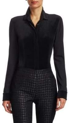 Akris Punto Velvet Jersey Button-Down Blouse