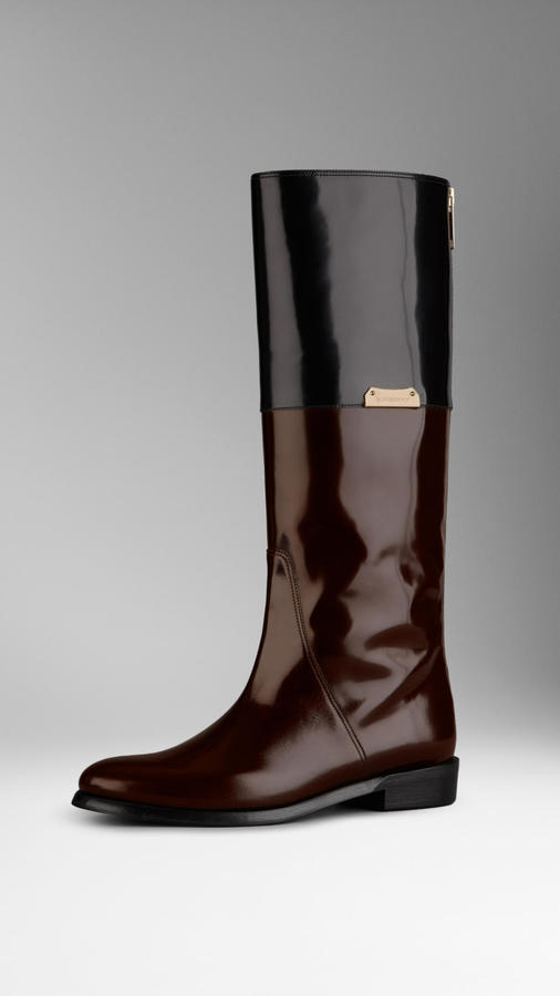 Burberry Patent Leather Equestrian Boots