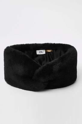Next Womens River Island Black Faux Fur Headband