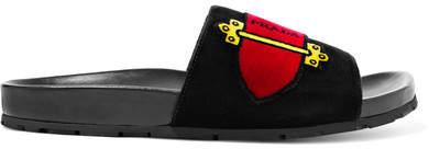 Prada - Printed Velvet Slides - Black