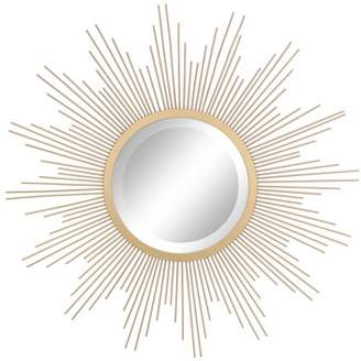 "STONEBRIAR COLLECTION Stonebriar Round Decorative Antique Gold 24"" Metal Starburst Hanging Mirror for Wall with Attached Mounting Brackets"