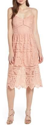 Love, Fire Cotton Blend Lace Midi Dress