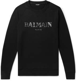 Balmain Metallic Logo-Print Loopback Cotton-Jersey Sweatshirt - Men - Black