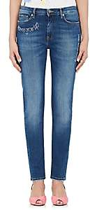 Mira Mikati Women's Embroidered-Words Skinny Jeans - Dark Blue