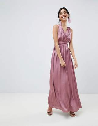 Little Mistress Satin Maxi Dress With Open Back