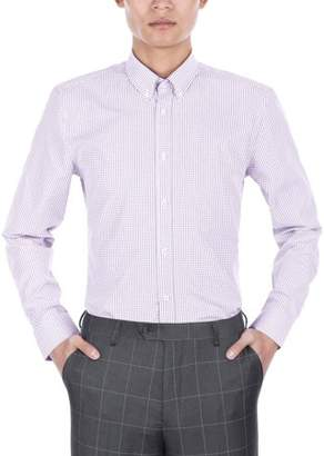 Verno Mens Light Blue and White Plaid Slim Fit Dress Shirt