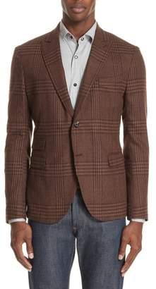 Eleventy Trim Fit Plaid Stretch Wool Blend Sport Coat