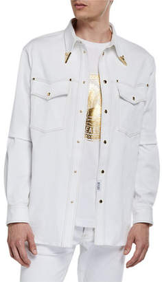 Versace Men's Bull Stretch Denim Western Shirt