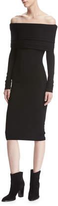Neiman Marcus Brandon Maxwell Venus Knit Off-the-Shoulder Layered Dress, Black