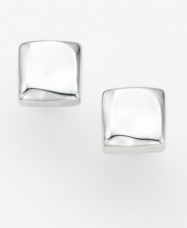 Sterling Silver Earrings, Square Studs