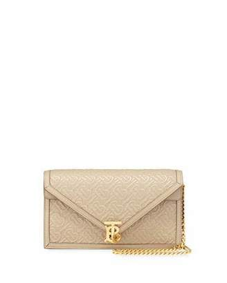 Burberry Small TB Monogrammed Quilted Leather Envelope Crossbody Bag