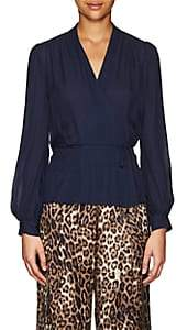 L'Agence Women's Cara Silk Wrap Blouse - Navy