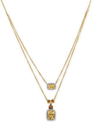 LeVian Le Vian Chocolatier Papaya Morganite (1-1/2 ct. t.w.) and Diamond (1/5 ct. t.w.) Layered Pendant Necklace in 14k Gold