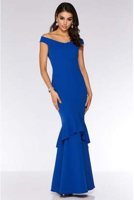 Quiz Royal Blue Bardot Fishtail Maxi Dress
