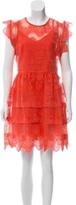 Marissa Webb Tiered Lace Dress Orange Tiered Lace Dress
