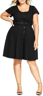 City Chic Plus Belted Button-Front Dress