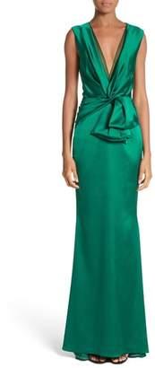 Talbot Runhof Crepe Satin V-Neck Gown