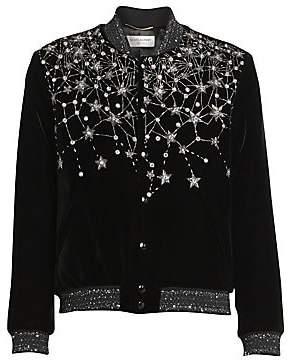 Saint Laurent Women's Embellished Velvet Bomber Jacket